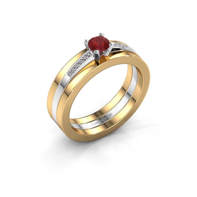Verlobungsring Celeste 585 Weißgold Rubin 4 mm