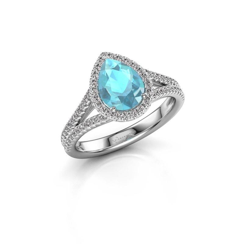 Verlovingsring Verla pear 2 950 platina blauw topaas 8x6 mm