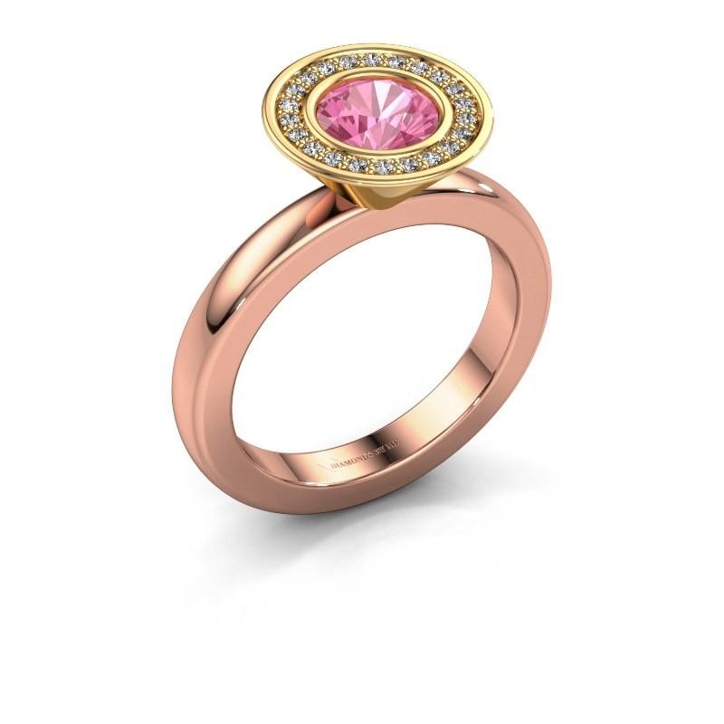 Stapelring Danille 585 rosé goud roze saffier 6 mm