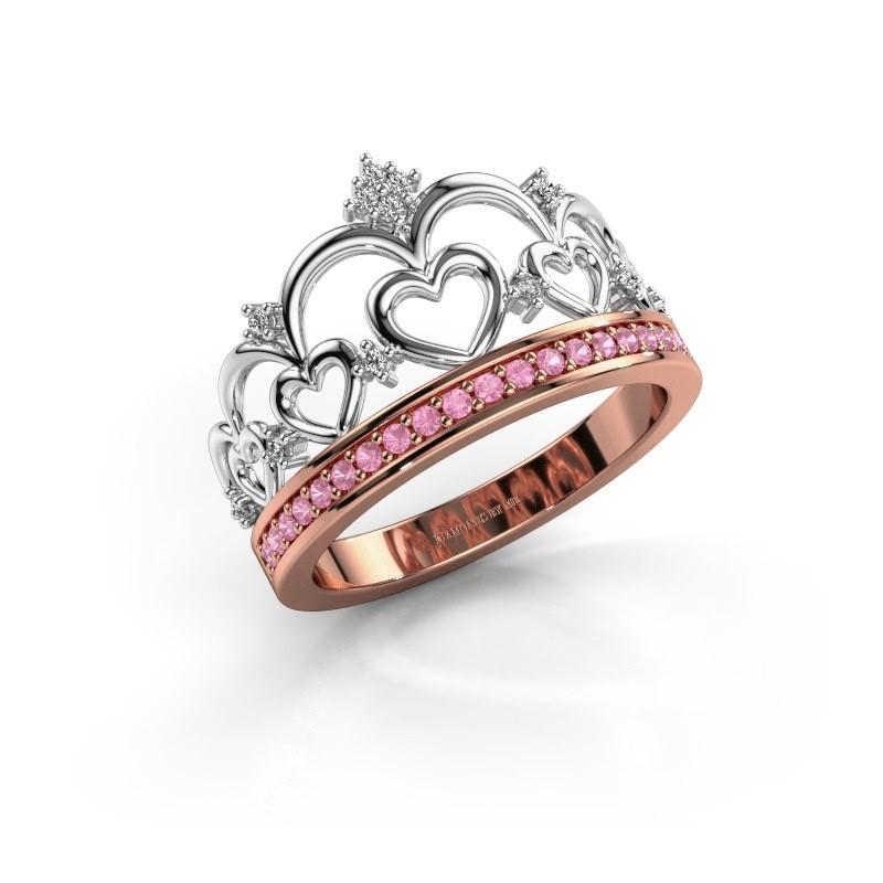 Ring Kroon 2 585 rosé goud roze saffier 1.2 mm
