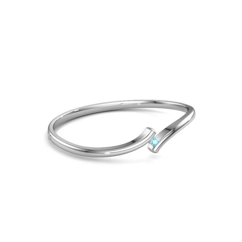 Bracelet jonc Amy 950 platine topaze bleue 3.4 mm