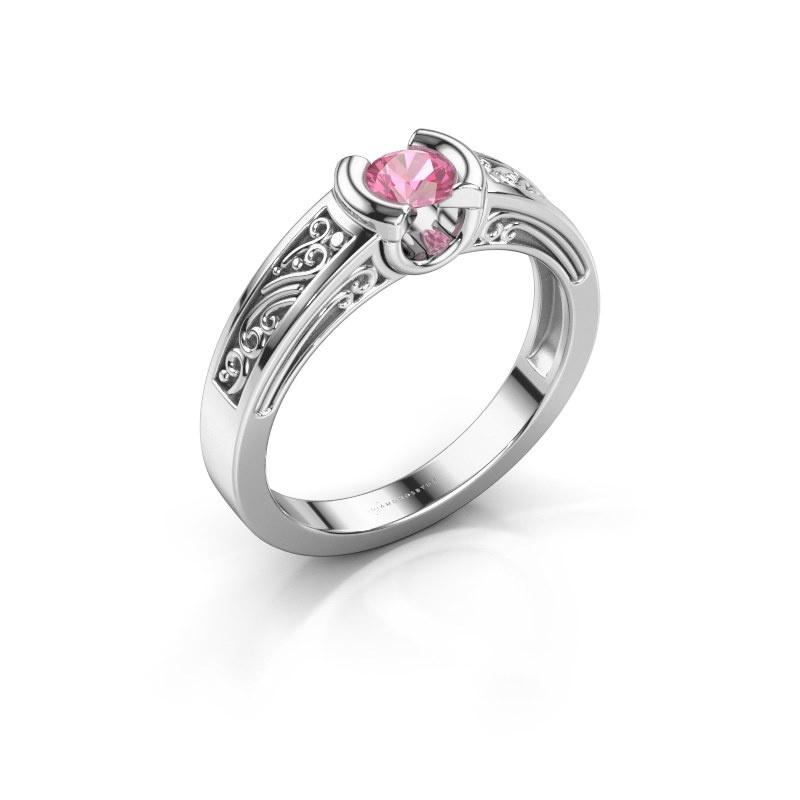 Ring Elena 585 white gold pink sapphire 4 mm