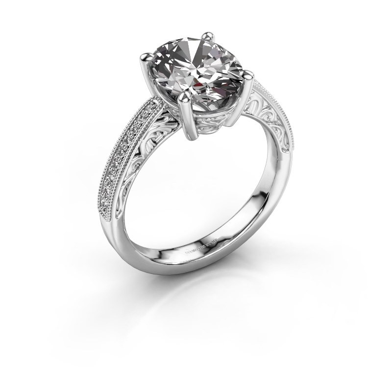 Engagement ring Shonta OVL 950 platinum diamond 0.93 crt