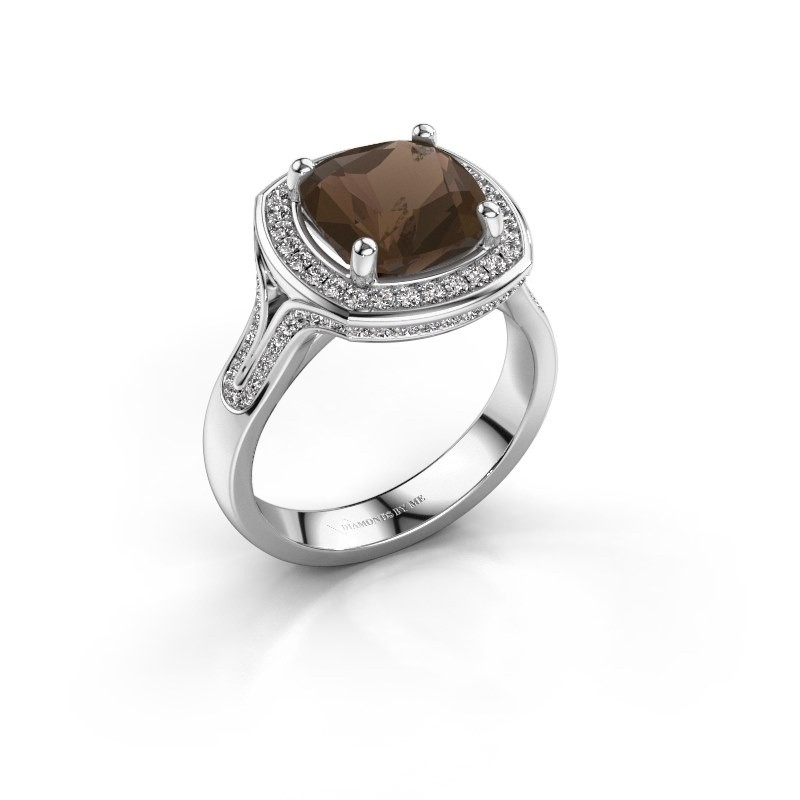Ring Lili 585 witgoud rookkwarts 9 mm