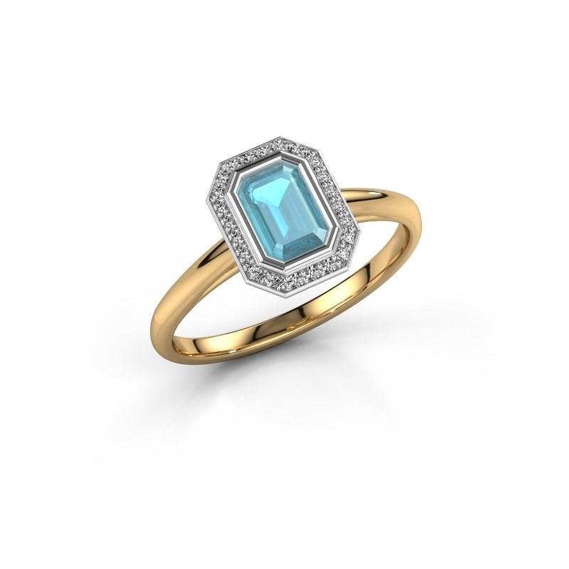 Verlovingsring Noud 1 EME 585 goud blauw topaas 6x4 mm