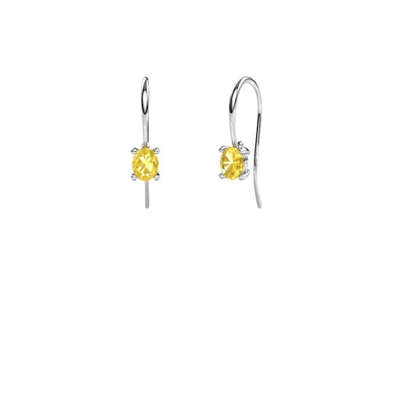 Drop earrings Cleo 375 white gold yellow sapphire 6x4 mm