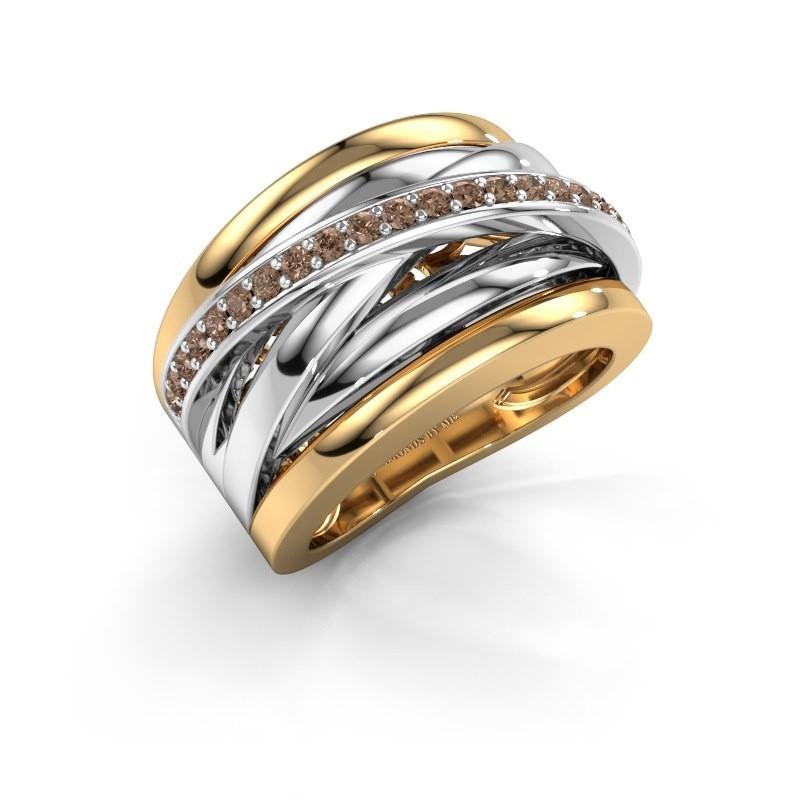 Ring Clair 1 585 goud bruine diamant 0.315 crt