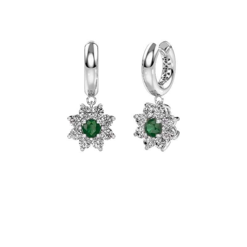 Oorhangers Geneva 1 585 witgoud smaragd 4.5 mm