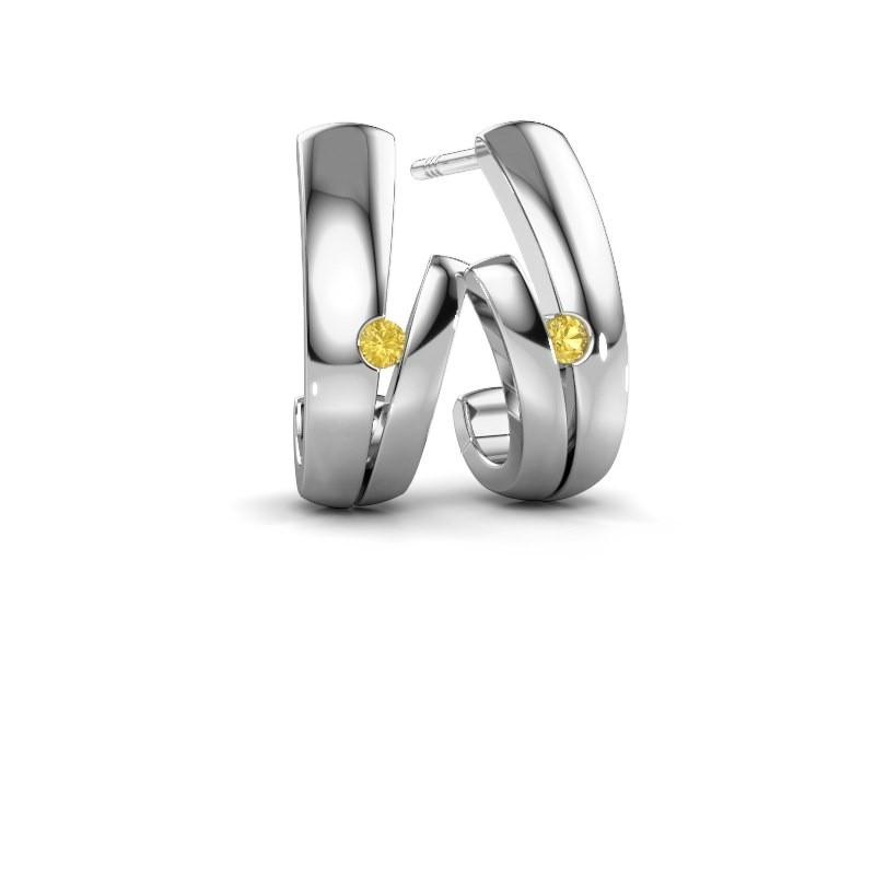 Oorbellen Shela 925 zilver gele saffier 2 mm