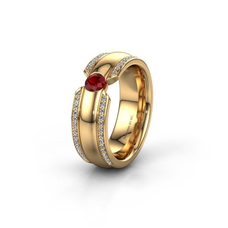Wedding ring WHR0575L 375 gold ruby ±0.28x0.08 in