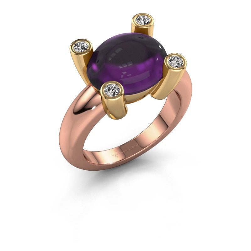 Ring Janice OVL 585 rosé goud amethist 12x10 mm