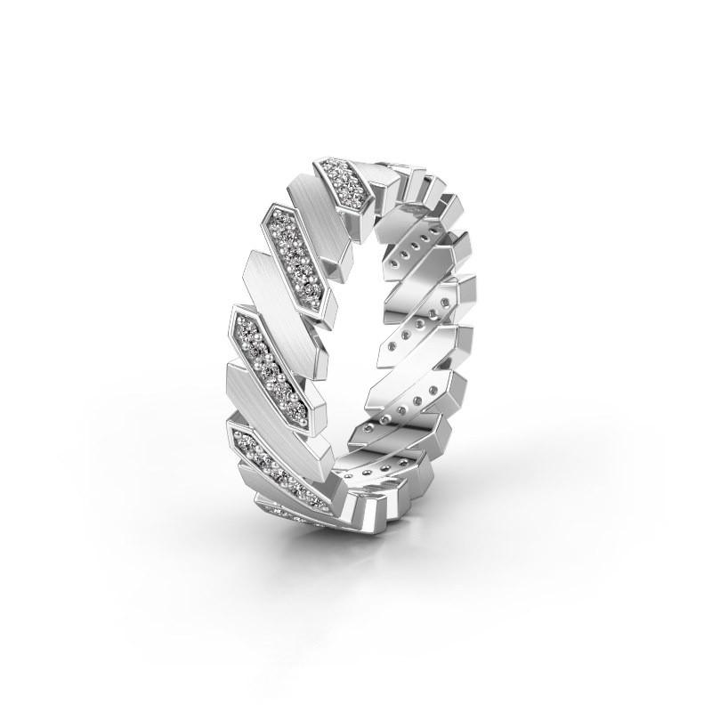 Huwelijksring WH2036M 925 zilver diamant ±7x2.2 mm