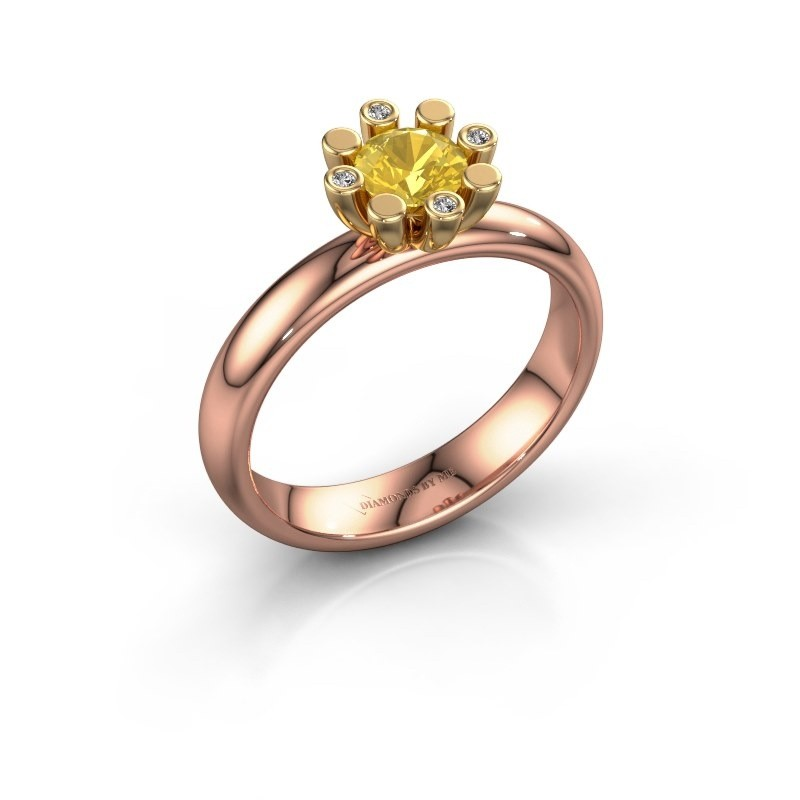 Stapelring Carola 2 585 rosé goud gele saffier 5 mm