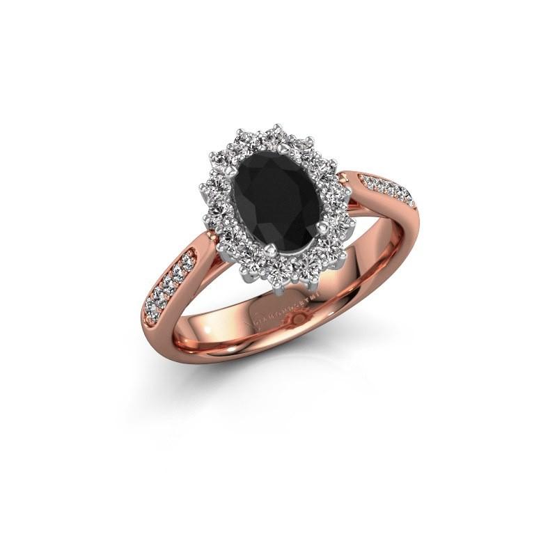 Verlovingsring Margien 2 585 rosé goud zwarte diamant 0.96 crt