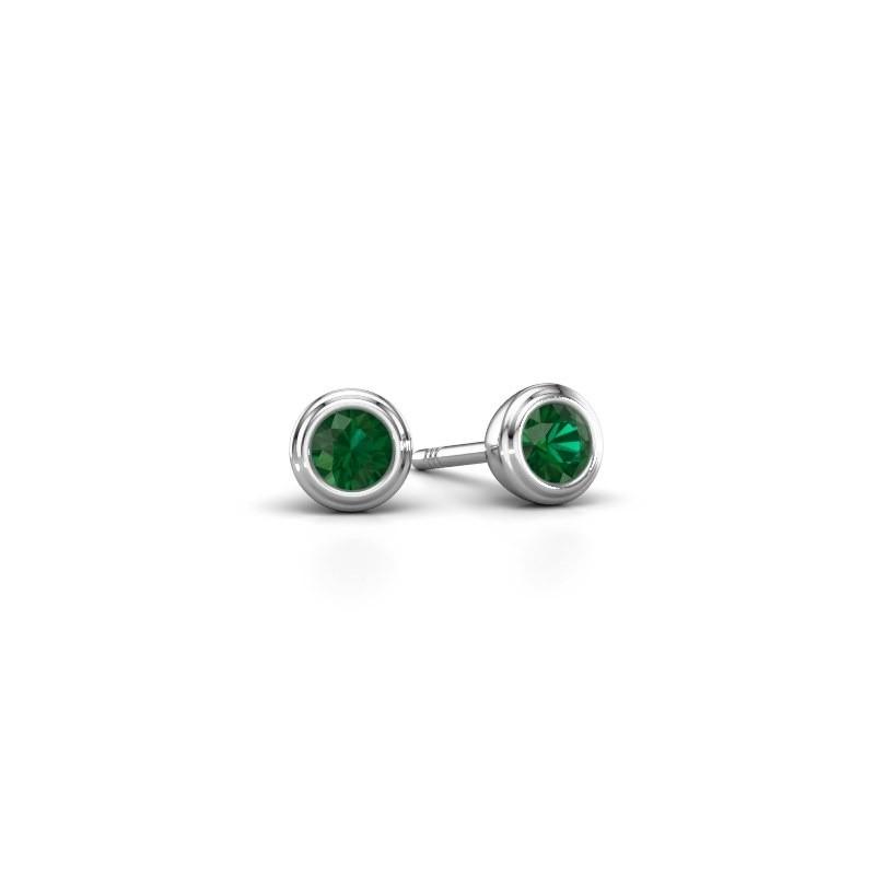 Oorstekers Shemika 925 zilver smaragd 3.4 mm
