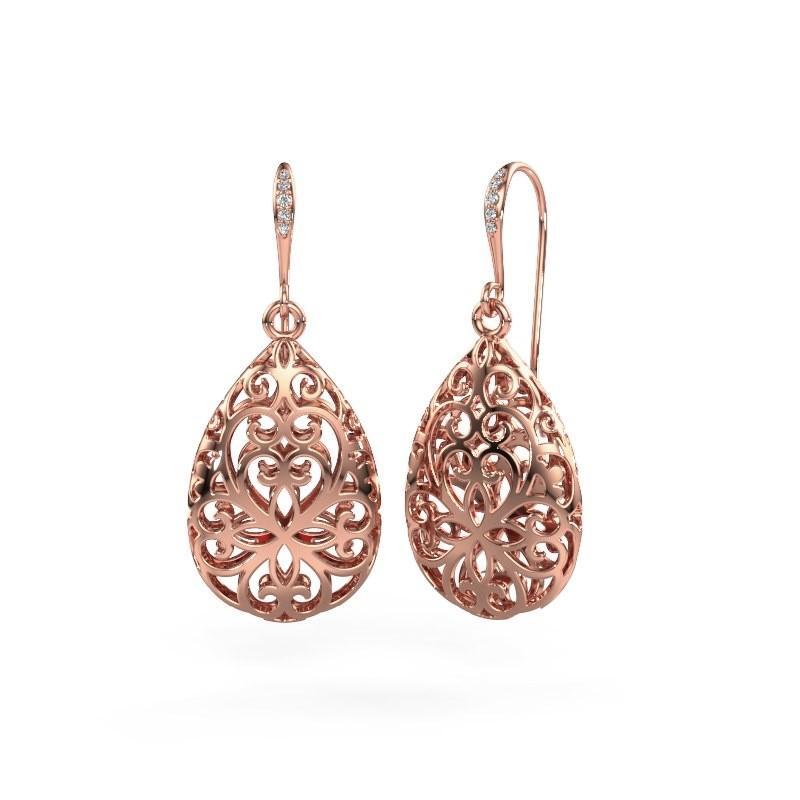 Drop earrings Idalia 1 585 rose gold diamond 0.033 crt