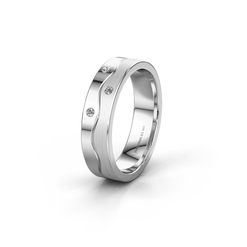 Trouwring WH0701L15APM 585 witgoud diamant ±5x1.7 mm