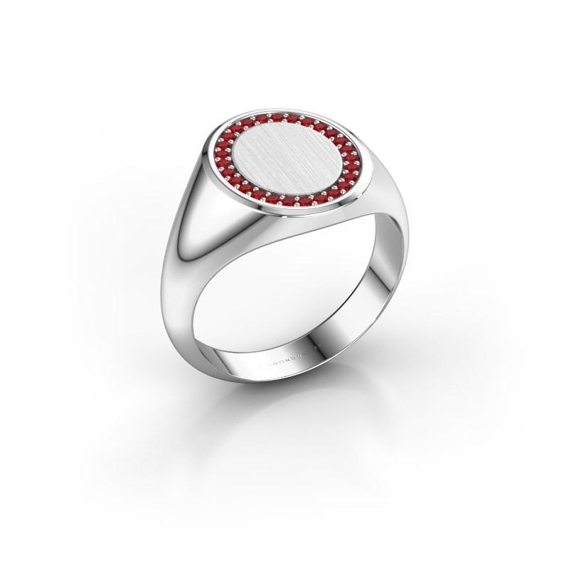 Men's ring Floris Oval 3 375 white gold ruby 1.2 mm