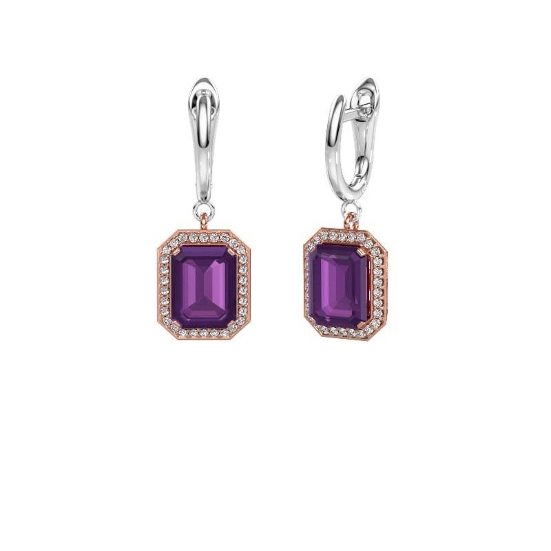 Drop earrings Dodie 1 585 rose gold amethyst 9x7 mm
