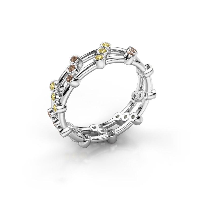 Ring Floortje 950 platina bruine diamant 0.18 crt
