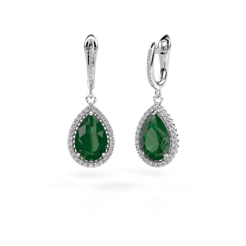 Oorhangers Tilly per 4 950 platina smaragd 12x8 mm