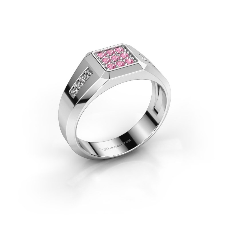 Pinky ring Bas 925 silver pink sapphire 1.7 mm