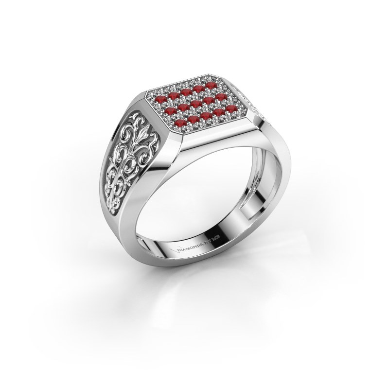 Herrenring Amir 925 Silber Rubin 1.4 mm