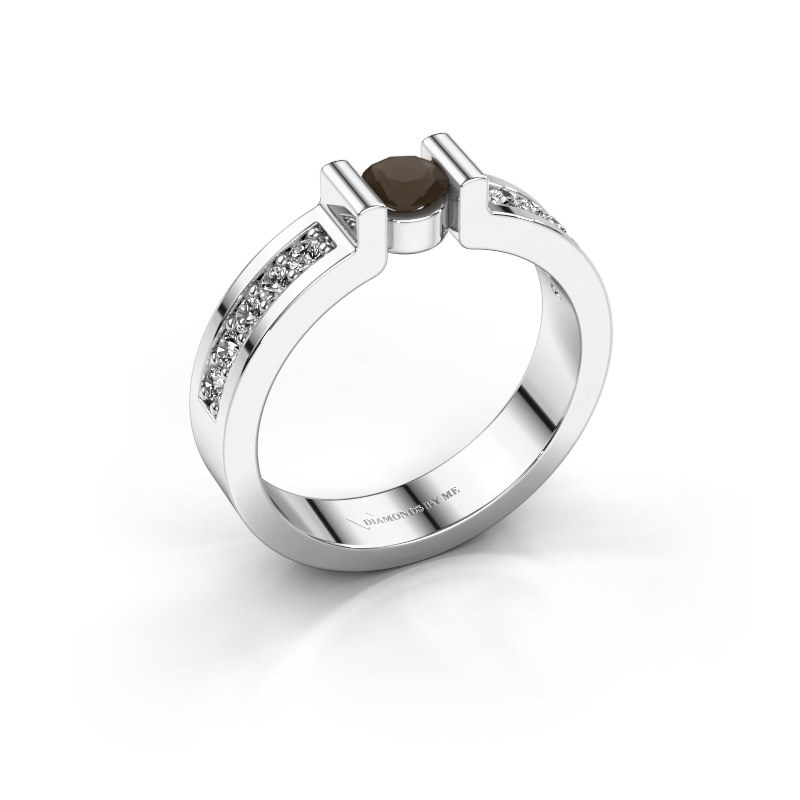 Engagement ring Isabel 2 925 silver smokey quartz 4 mm