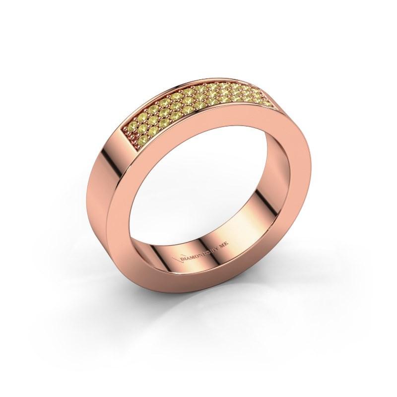 Ring Lindsey 1 585 rosé goud gele saffier 1.1 mm
