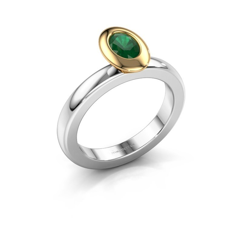 Stapelring Trudy Oval 585 witgoud smaragd 6x4 mm