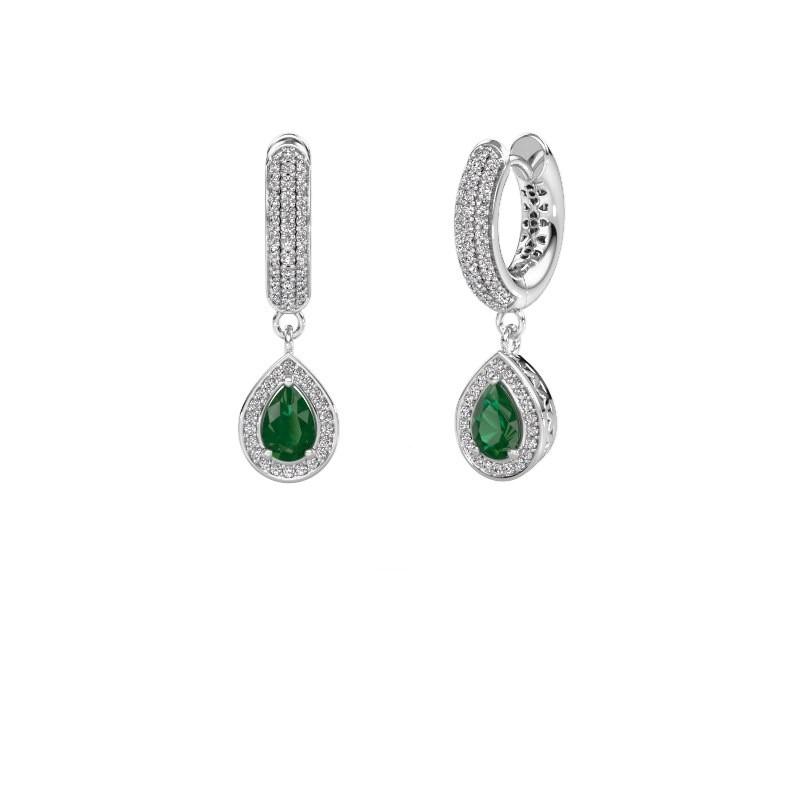 Drop earrings Barbar 2 950 platinum emerald 6x4 mm