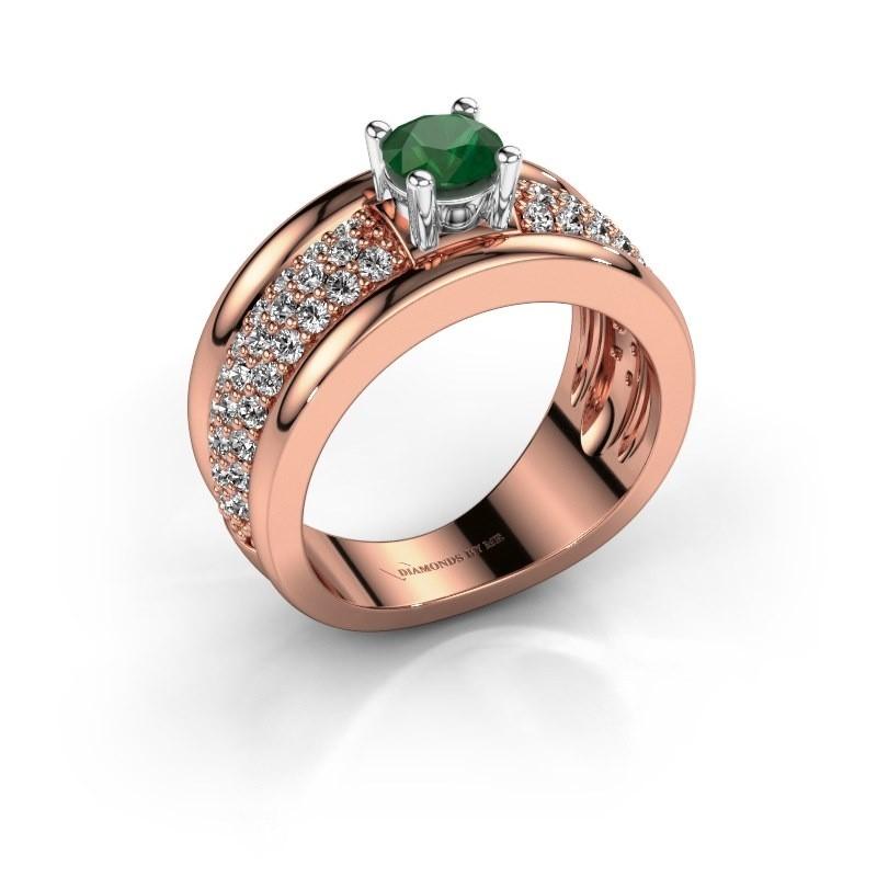 Ring Alicia 585 Roségold Smaragd 5 mm