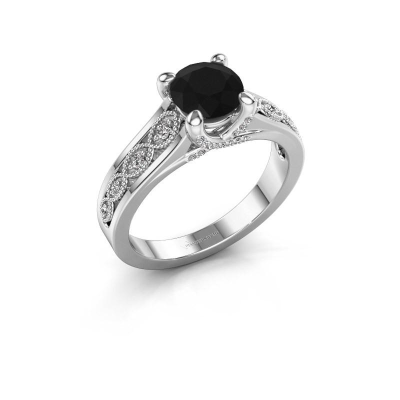 Aanzoeksring Clarine 950 platina zwarte diamant 1.360 crt