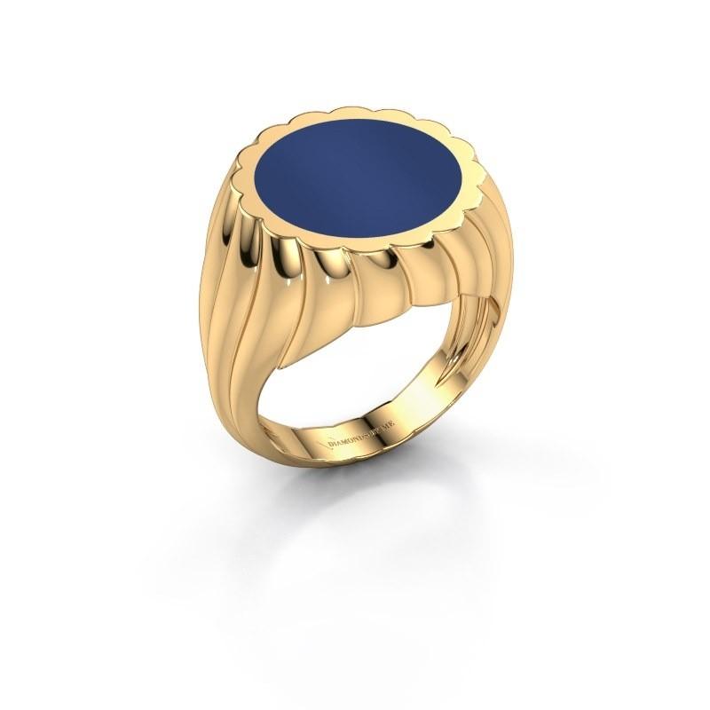 Zegelring Mano 585 goud lapis lazuli 13 mm