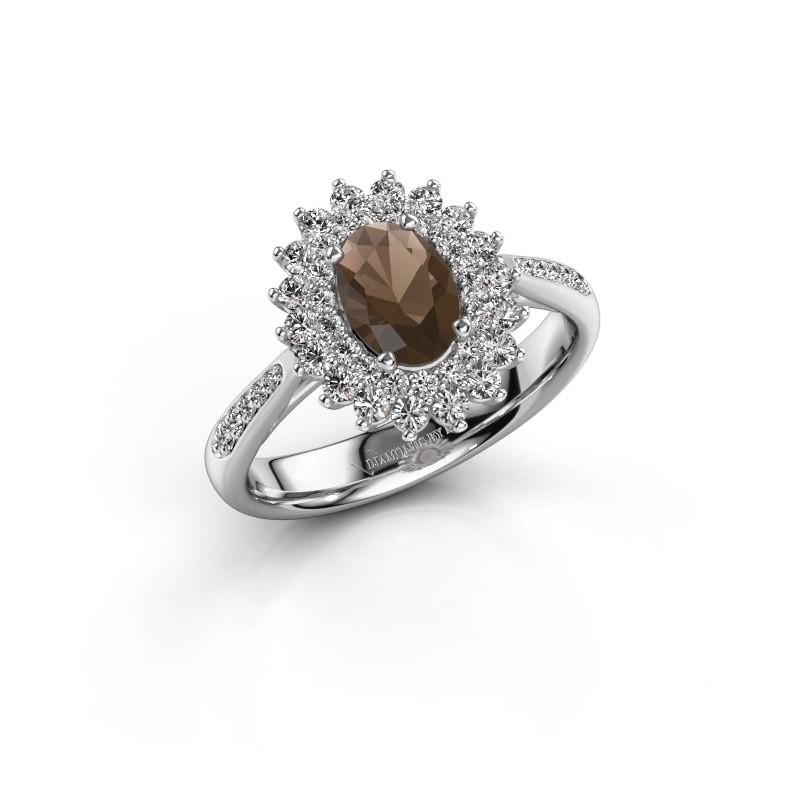 Engagement ring Alina 2 585 white gold smokey quartz 7x5 mm