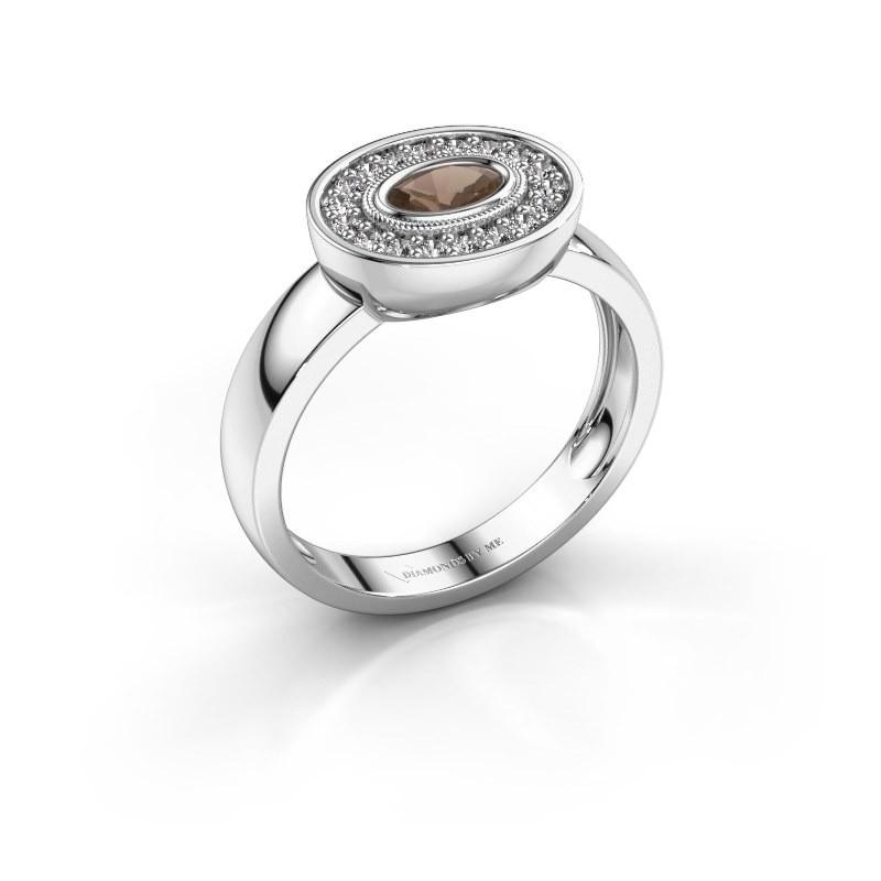 Ring Azra 585 white gold smokey quartz 5x3 mm