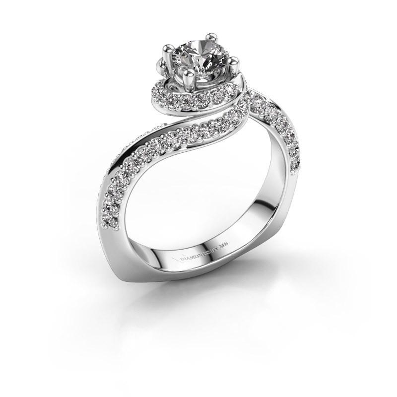 Engagement ring Sienna 950 platinum zirconia 5 mm