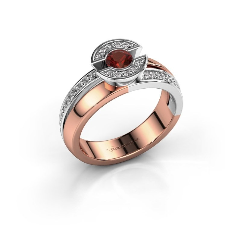 Ring Jeanet 2 585 rosé goud granaat 4 mm
