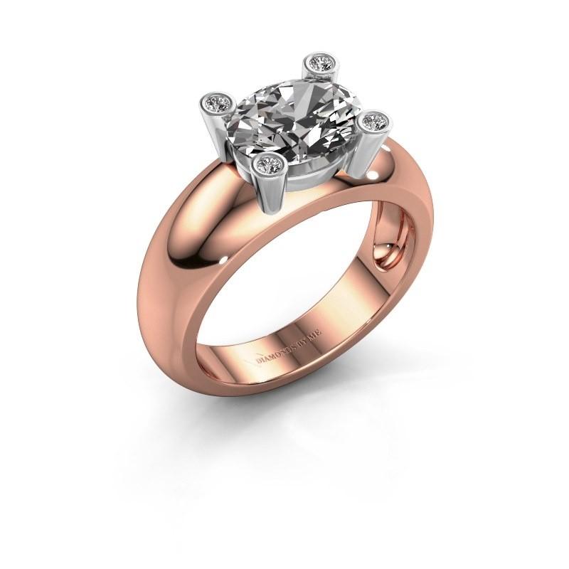 Ring Tamara OVL 585 rosé goud diamant 1.80 crt