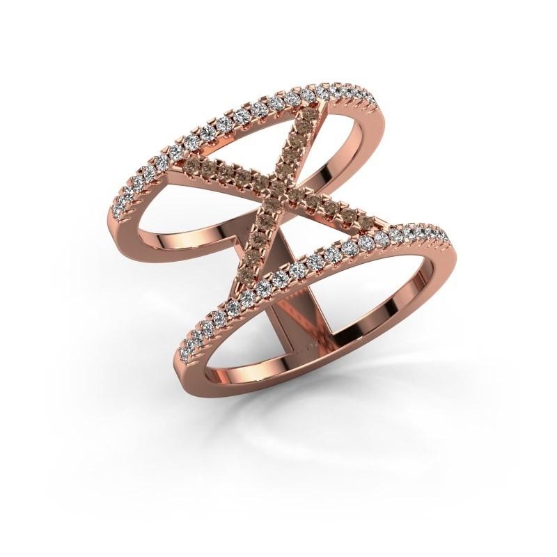 Ring Sharri 2 375 rosé goud bruine diamant 0.422 crt