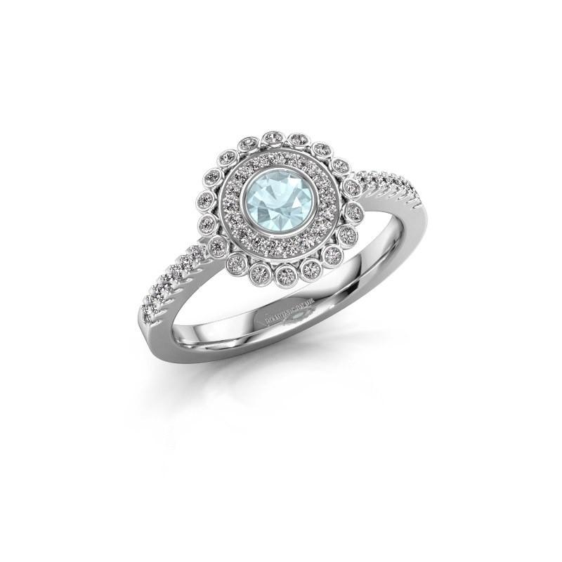 Engagement ring Shanelle 585 white gold aquamarine 4 mm