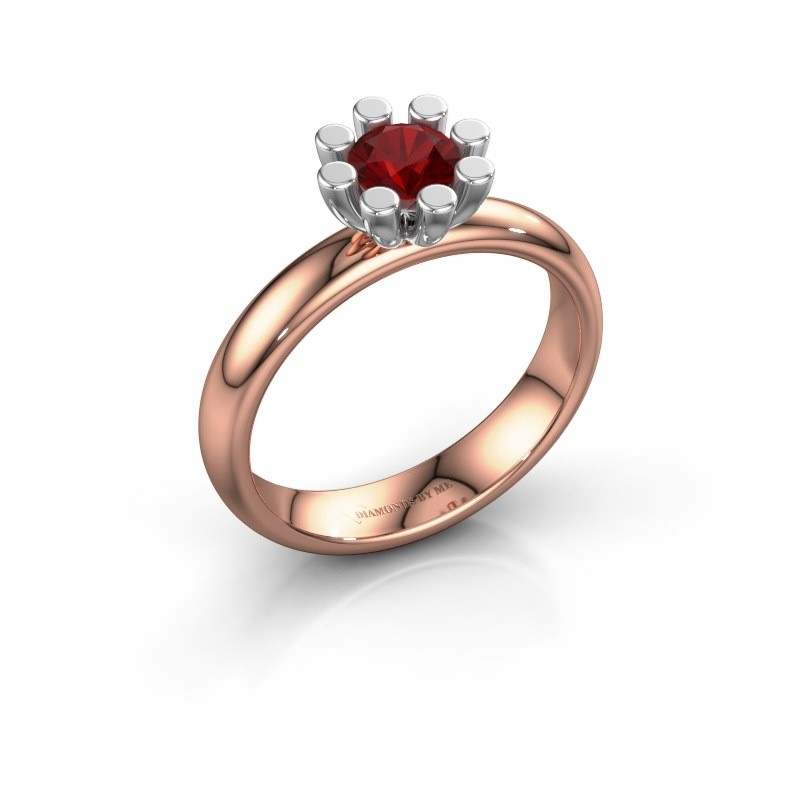 Stapelring Carola 1 585 rosé goud robijn 5 mm