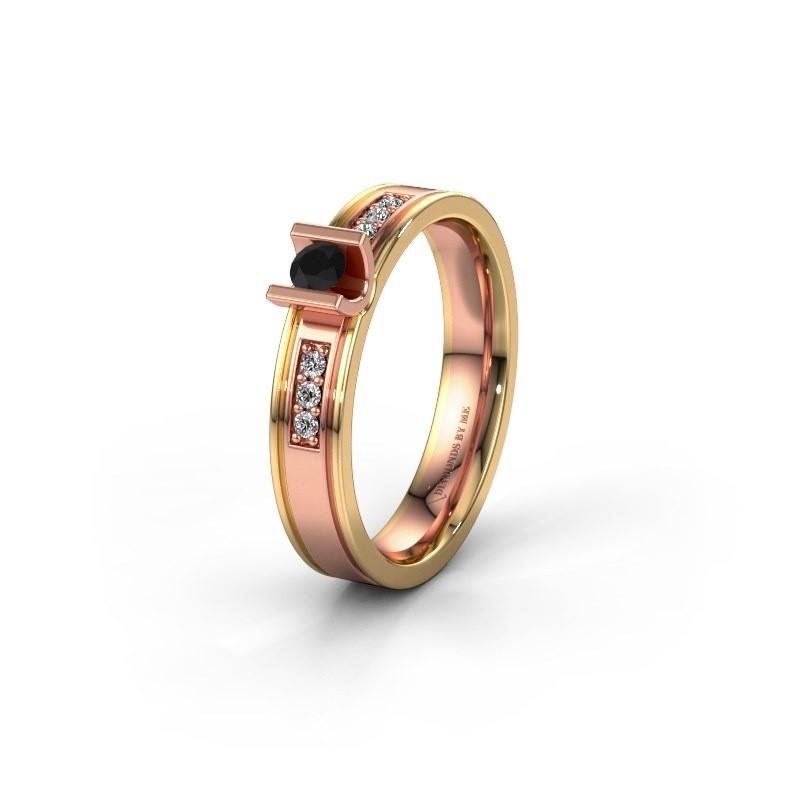 Trouwring WH2108L14A 585 rosé goud zwarte diamant ±4x1.7 mm