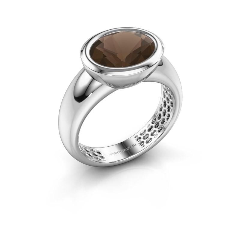 Ring Evelyne 585 Weißgold Rauchquarz 10x8 mm