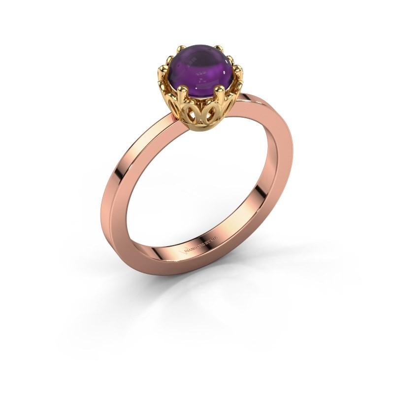 Ring Marly 585 rosé goud amethist 6 mm