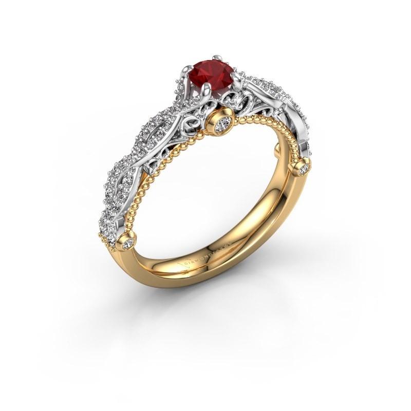Verlovingsring Chantelle 585 goud robijn 4 mm