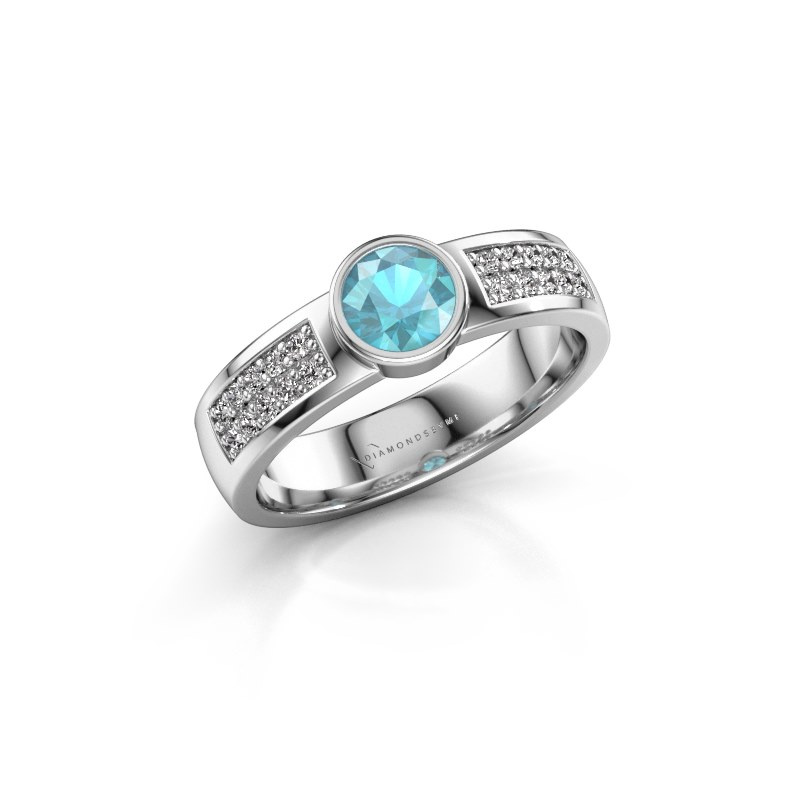 Engagement ring Ise 3 925 silver blue topaz 4.7 mm