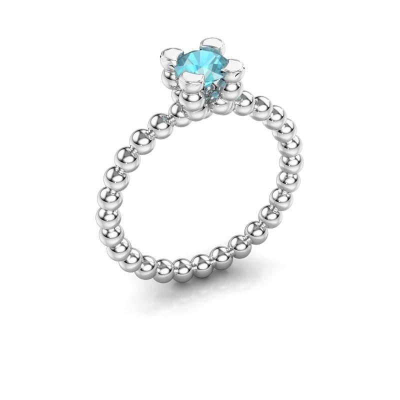 Ring Aurore 585 witgoud blauw topaas 5 mm