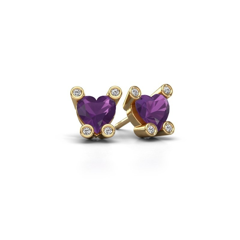 Oorstekers Cornelia Heart 585 goud amethist 6 mm
