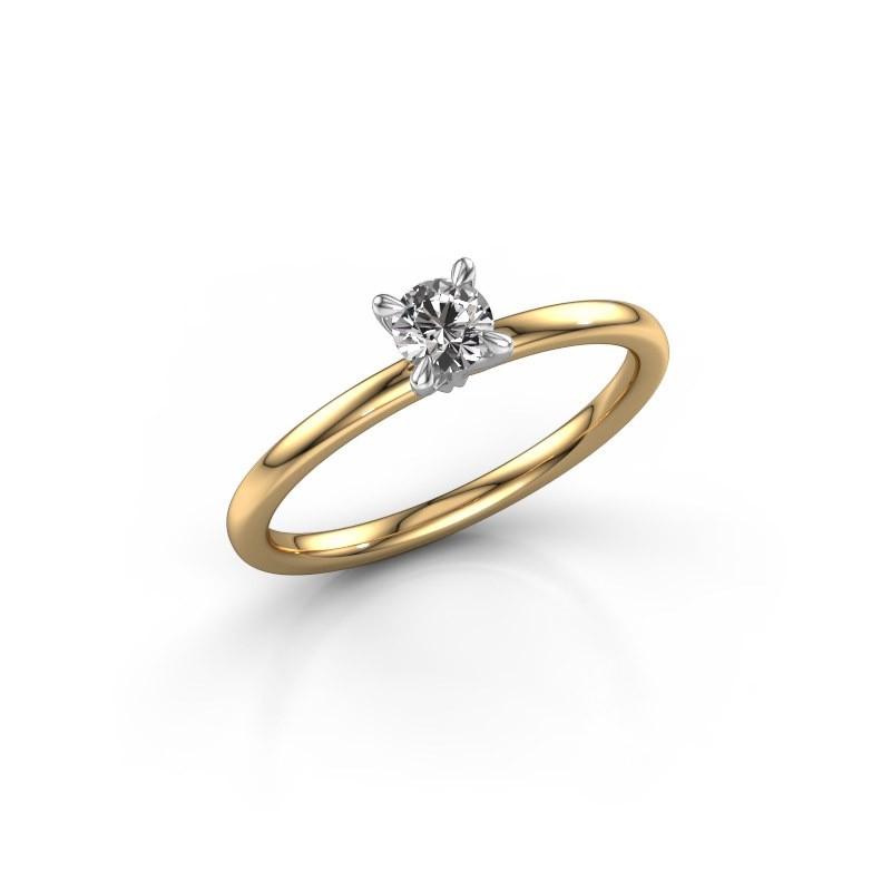 Verlovingsring Crystal RND 1 585 goud diamant 0.30 crt